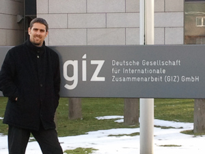 January 2011: Balthas Seibold inspecting the new GIZ identity